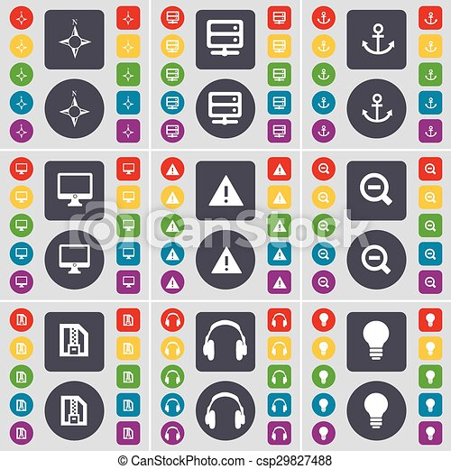 Compass, Server, Anchorr, Monitor, Warning, Magnifying glass, ZI icon symbol. A large set of flat, colored buttons for your design. Vector - csp29827488