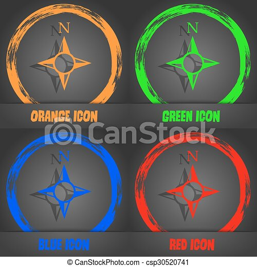 Compass sign icon. Windrose navigation symbol. Fashionable modern style. In the orange, green, blue, red design. Vector - csp30520741