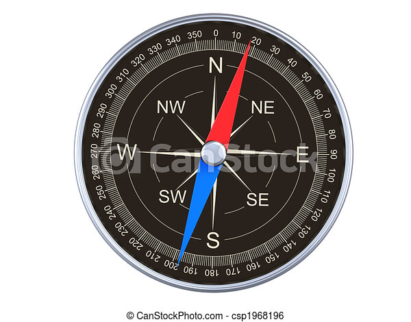 Compass Top View 3d Rendering Of Magnetic Compass On White Background