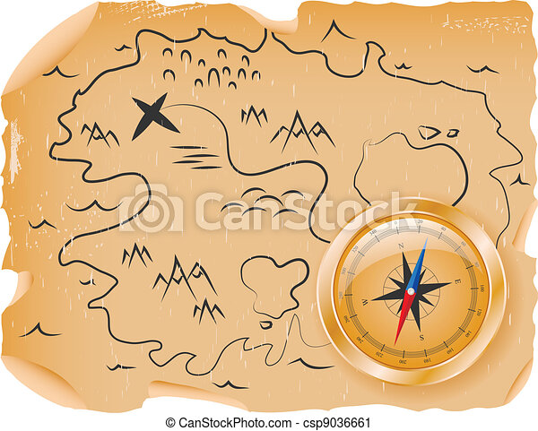 Compass with a map - csp9036661