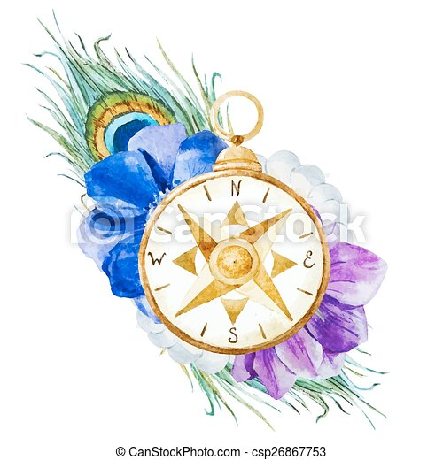 10560ff3f Compass with flowers. Beautiful vector image with nice watercolor ...