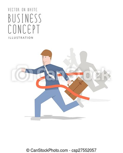 Competition of business sprint to the finish line first to ribbon flat vector. - csp27552057