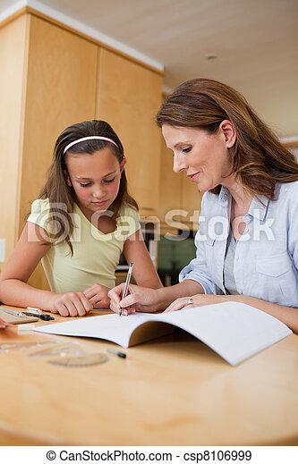 compito, donna, porzione, figlia - csp8106999