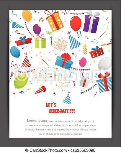compleanno, elementi, celebrazione - csp35663090