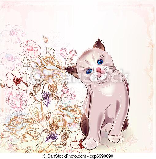 compleanno, gattino, tailandese, roses.watercolor, style., scheda - csp6390090