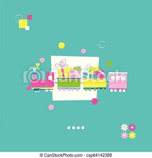 compleanno, treno, scheda, felice - csp64142388