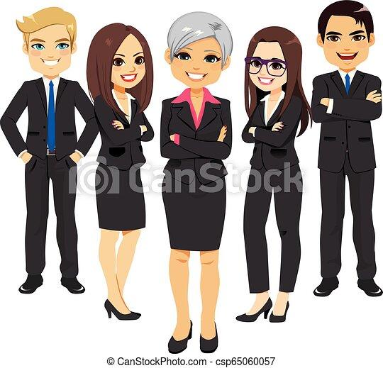 complet, noir, equipe affaires - csp65060057