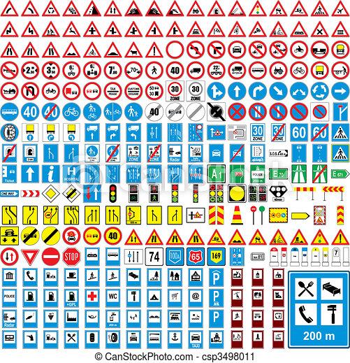 completamente, editable, três, vetorial, sinais tráfego, cem, europeu - csp3498011