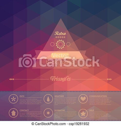 complete., 層, 持つ, 三角形, 容易である, 少数, パターン, shapes., 背中, seamless, バックグラウンド。, ベクトル, レトロ, ファイル, infographics, 幾何学的, ラベル, using., 構成, design. - csp19281932