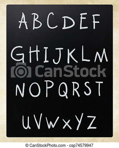 Complete english alphabet handwritten with white chalk on a blackboard - csp74579947