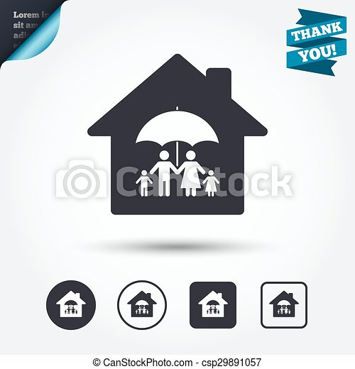 Complete family home insurance icon. - csp29891057