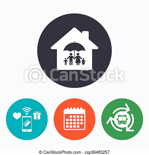 Complete family home insurance icon. - csp36483257