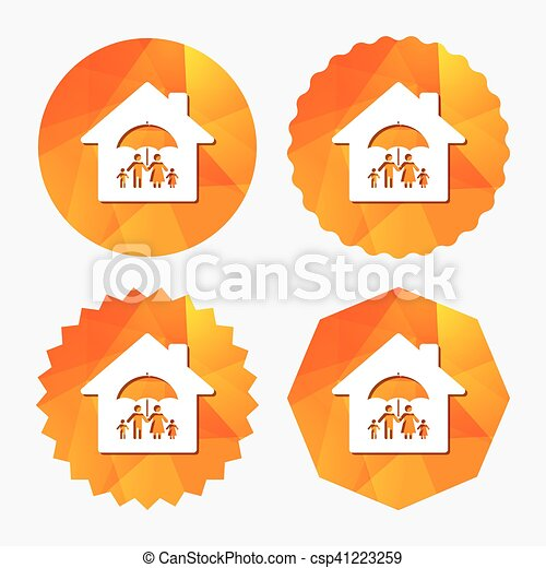 Complete family home insurance icon. - csp41223259