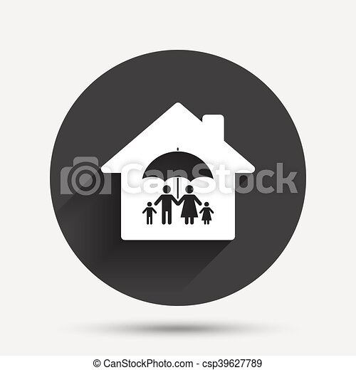 Complete family home insurance icon. - csp39627789