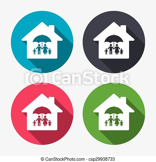 Complete family home insurance icon. - csp29938733