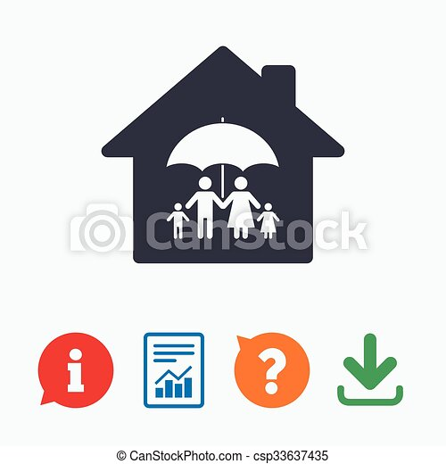 Complete family home insurance icon. - csp33637435