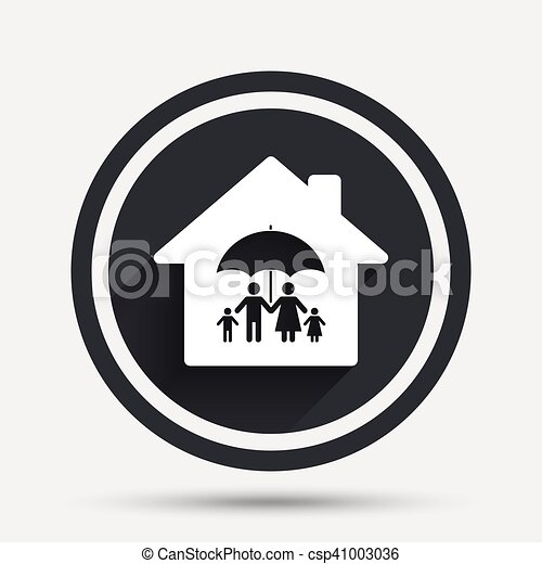 Complete family home insurance icon. - csp41003036