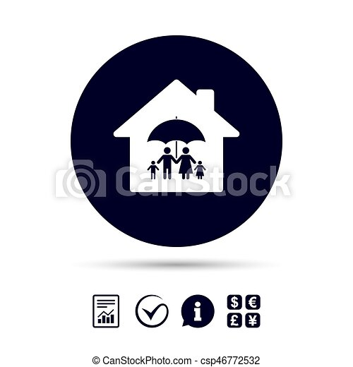 Complete family home insurance icon. - csp46772532