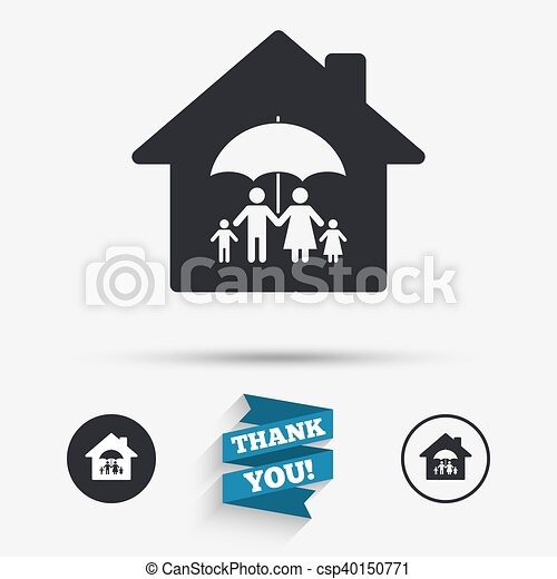 Complete family home insurance icon. - csp40150771