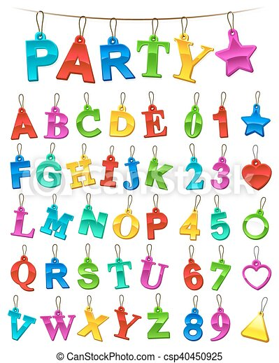 Complete festive alphabet and numbers set with blank labels - csp40450925