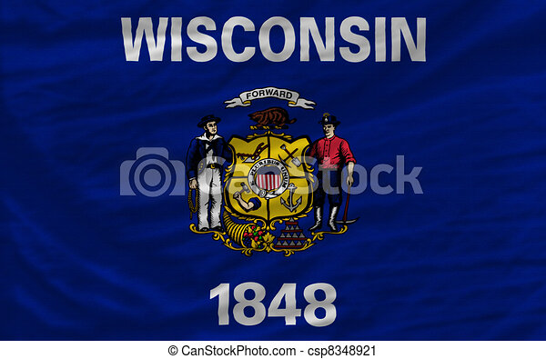 complete flag of us state of wisconsin covers whole frame, waved, crunched and very natural looking. It is perfect for background - csp8348921