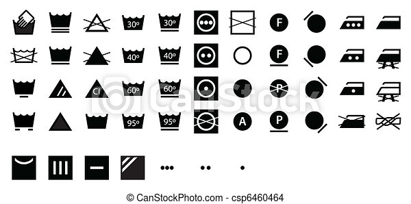 Complete Laundry Symbols Dark - csp6460464