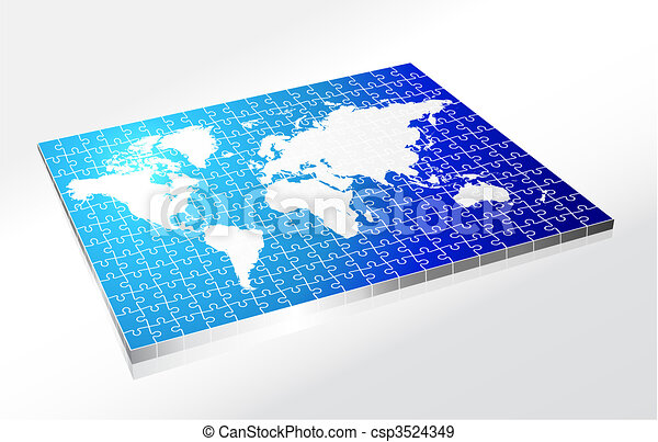 Complete Puzzle of World Map - csp3524349