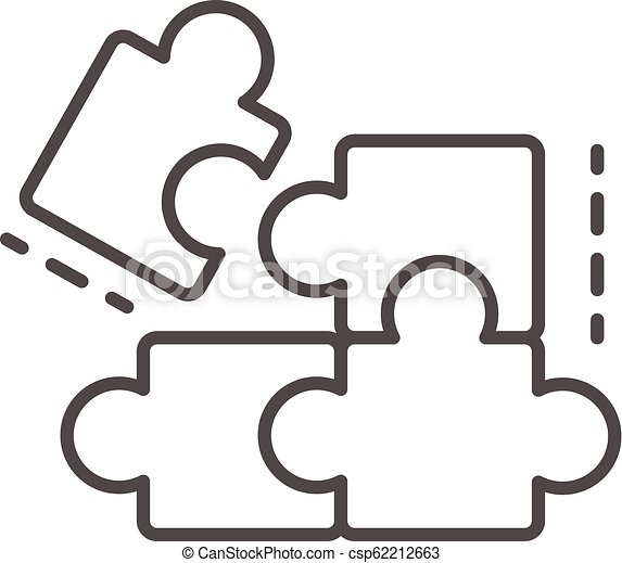 Complete puzzle solution icon, outline style - csp62212663