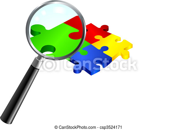 Complete Puzzle under Magnifying Glass - csp3524171