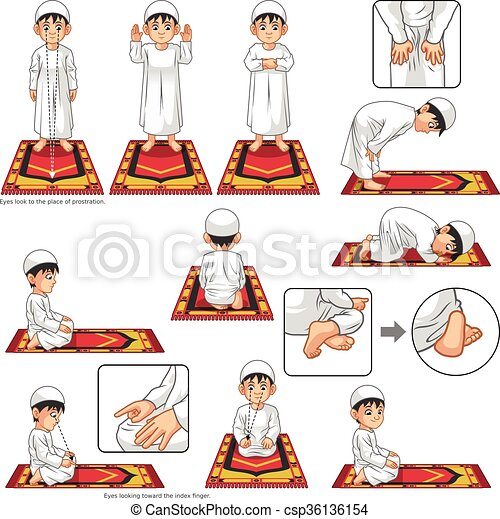 Complete Set of Muslim Prayer Position Guide Step by Step Perform by Boy - csp36136154