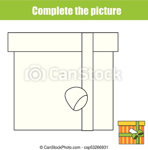 Complete the picture children educational game, coloring page. kids ...