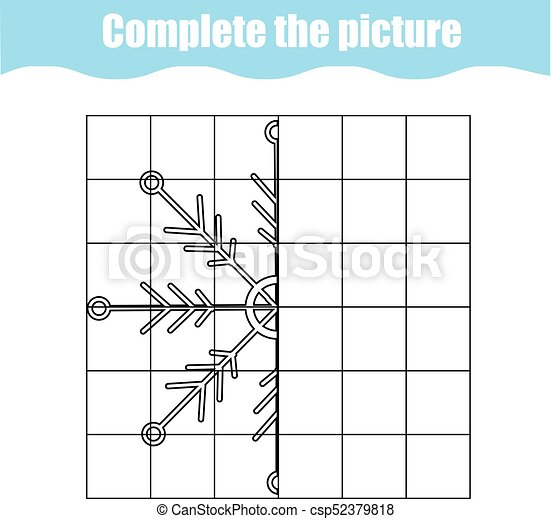 Complete the picture children educational game, coloring page. Kids  activity sheet with snowflake. Printable drawing worksheet