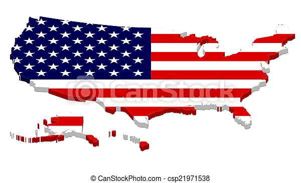 Complete USA Map with Flag Overlay - csp21971538