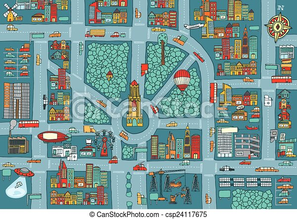 Complex busy city map - csp24117675