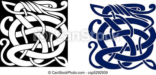 Complex Celtic symbol great for tattoo. Vector. - csp5292939