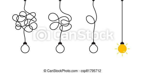 Complex complicated process easy solution, simplify problem, untangling mess knot in simple line, simplest right way, good idea concept vector illustration - csp81795712