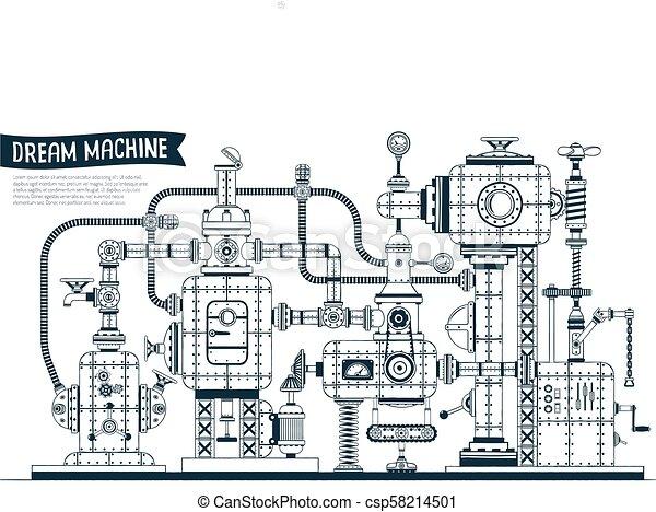 Complex fantastic steampunk machine - csp58214501