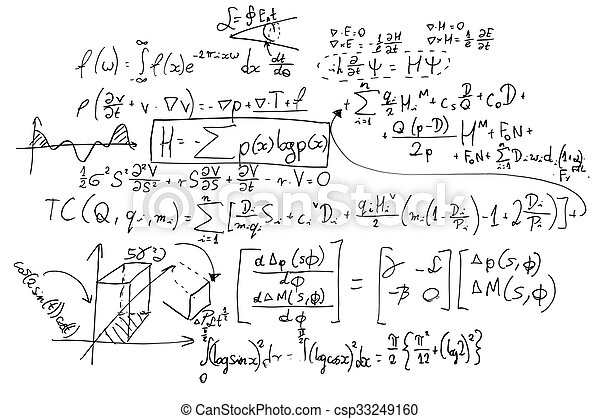 Complex math formulas on whiteboard - csp33249160