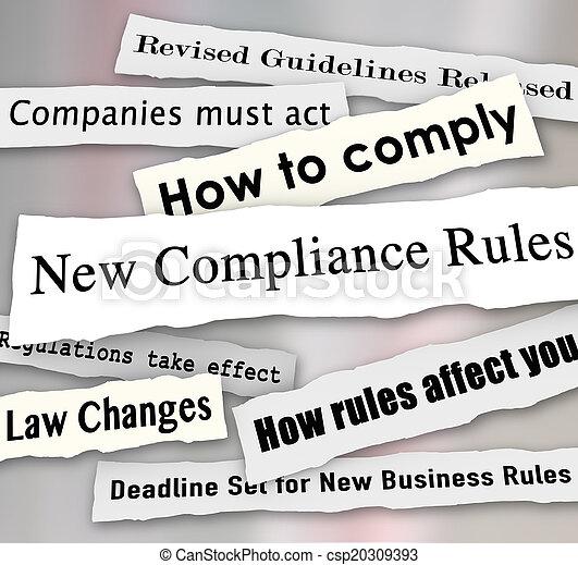 Compliance Headlines Newspaper Torn New Business Regulations Com - csp20309393