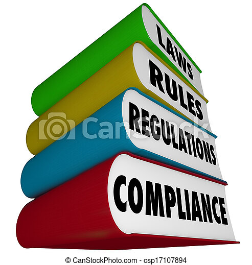 Compliance Rules Laws Regulations Stack of Books Manuals - csp17107894