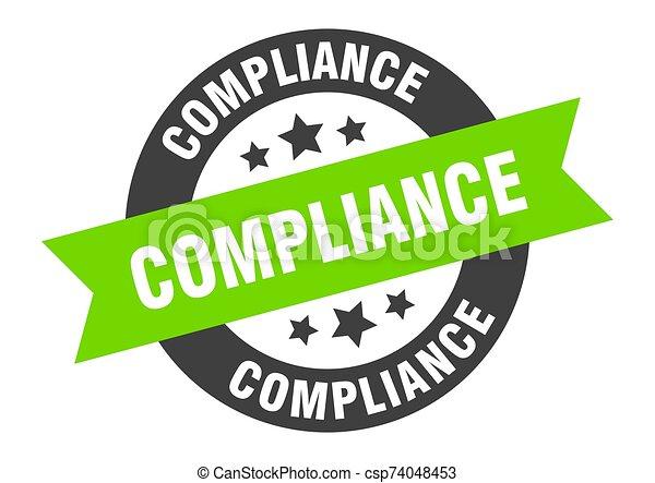 compliance sign. compliance black-green round ribbon sticker - csp74048453
