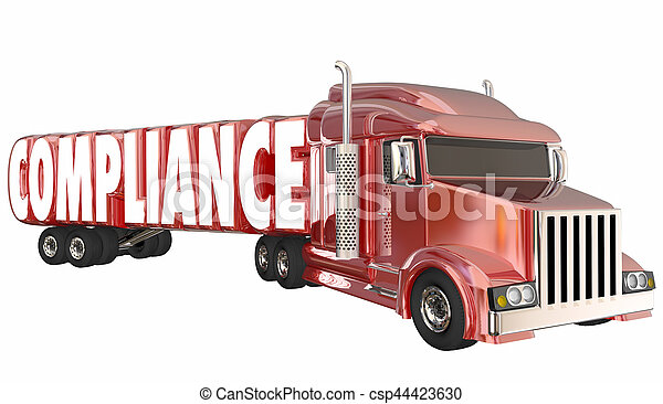 Compliance Trucking Rules Regulations Laws Word 3d Illustration - csp44423630
