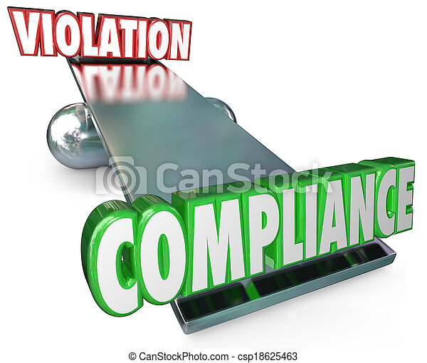 Compliance Vs Violation See-Saw Balance Following Rules Laws - csp18625463