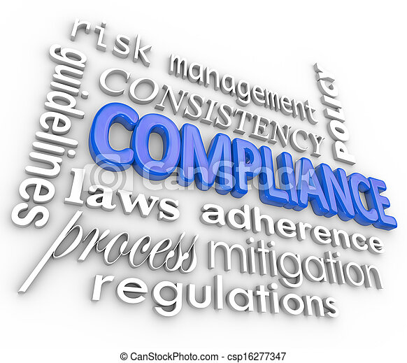Compliance Word Background Legal Regulations Adherence - csp16277347