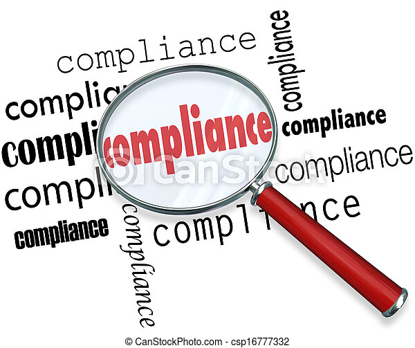 Compliance Words Magnifying Glass Rules Regulations - csp16777332