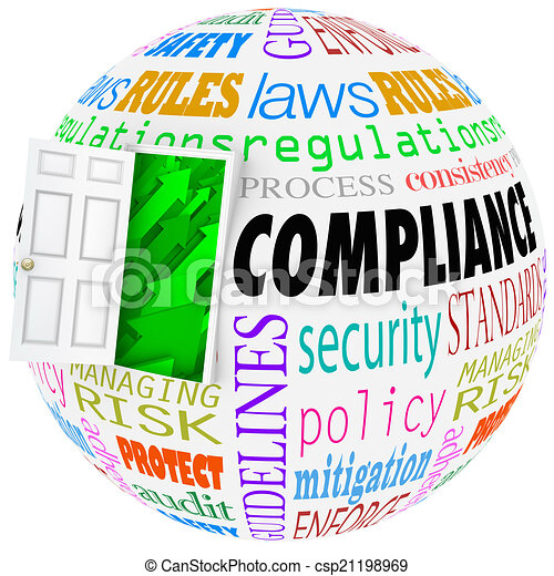 Compliance words sphere rules laws. Compliance words globe following rules, regulations ...