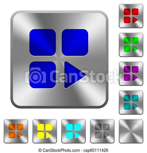 Component play rounded square steel buttons - csp65111426