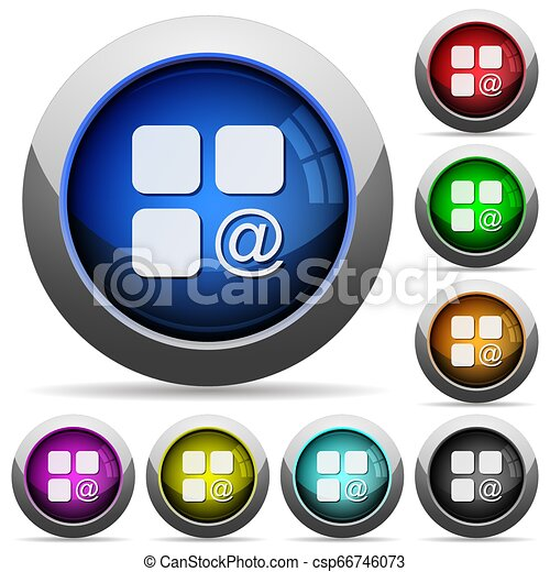 Component sending email round glossy buttons - csp66746073