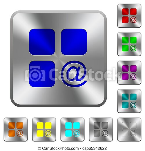 Component sending email rounded square steel buttons - csp65342622