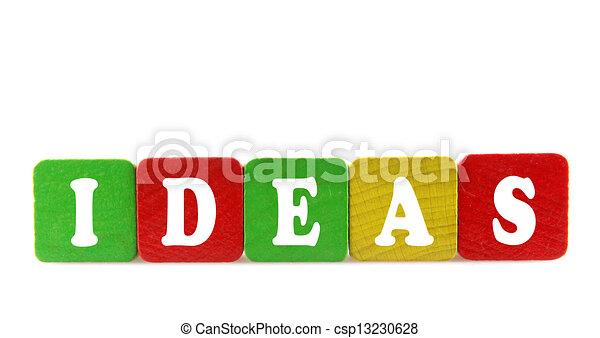 componentes básicos, de madera, texto, -, ideas, aislado - csp13230628